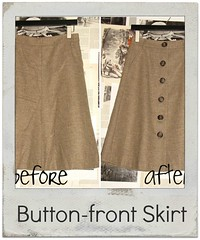 how to refashion skirt into button front