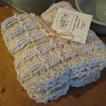 Natural Cotton Washcloth - handknit set of 3