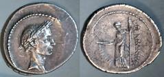 RRC 485/1 L.FLAMINIVS IIIIVIR Julius Caesar, Flaminia Denarius. Caesar, Pax with staff and caduceus. Rome 41BC (per Woytek).
