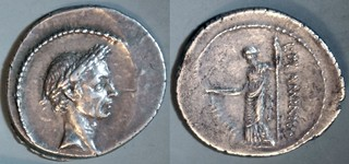485/1 L.FLAMINIVS IIIIVIR Julius Caesar, Flaminia Denarius. Caesar, Pax with staff and caduceus. Rome 41BC (per Woytek).
