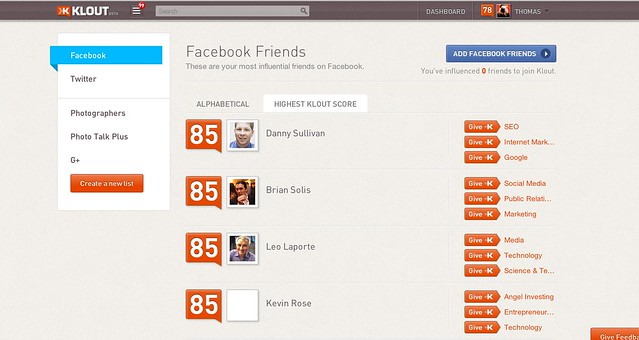 Klout Knows Who My Facebook and Twitter Friends Are
