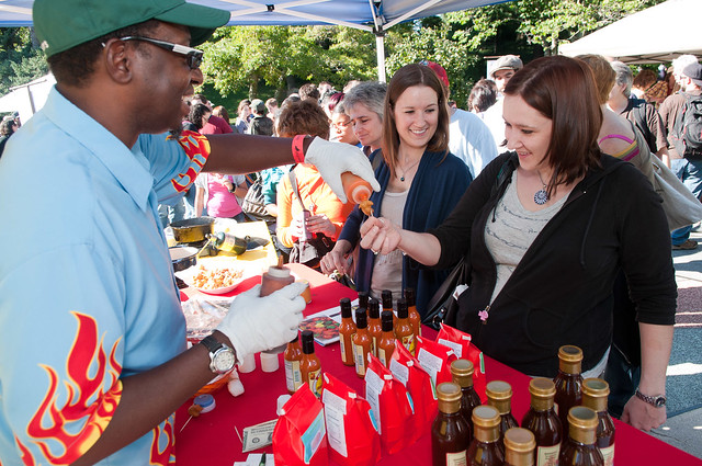 Guyank Sweet-Hot Pepper Sauce at BBG's Chile Pepper Fiesta. Photo by Jason Gardner.