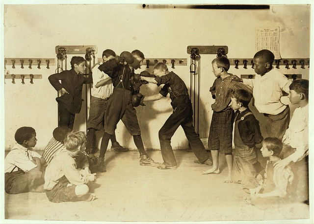 "The ""Manly art of self-defense"" Newsboys' Protective Association.  Location: Cincinnati, Ohio. (LOC)"