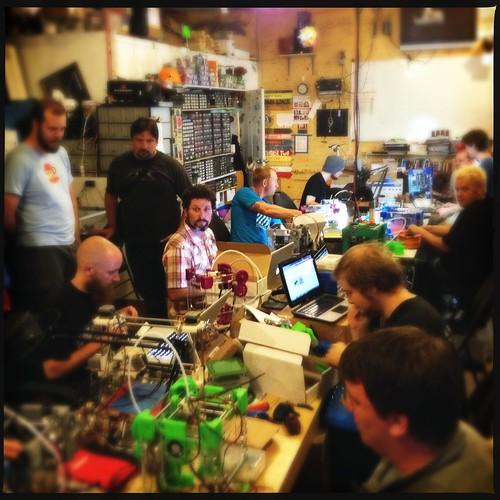 A 3d printer build-a-thon! 11 Tantillus printers in one place! by John Biehler