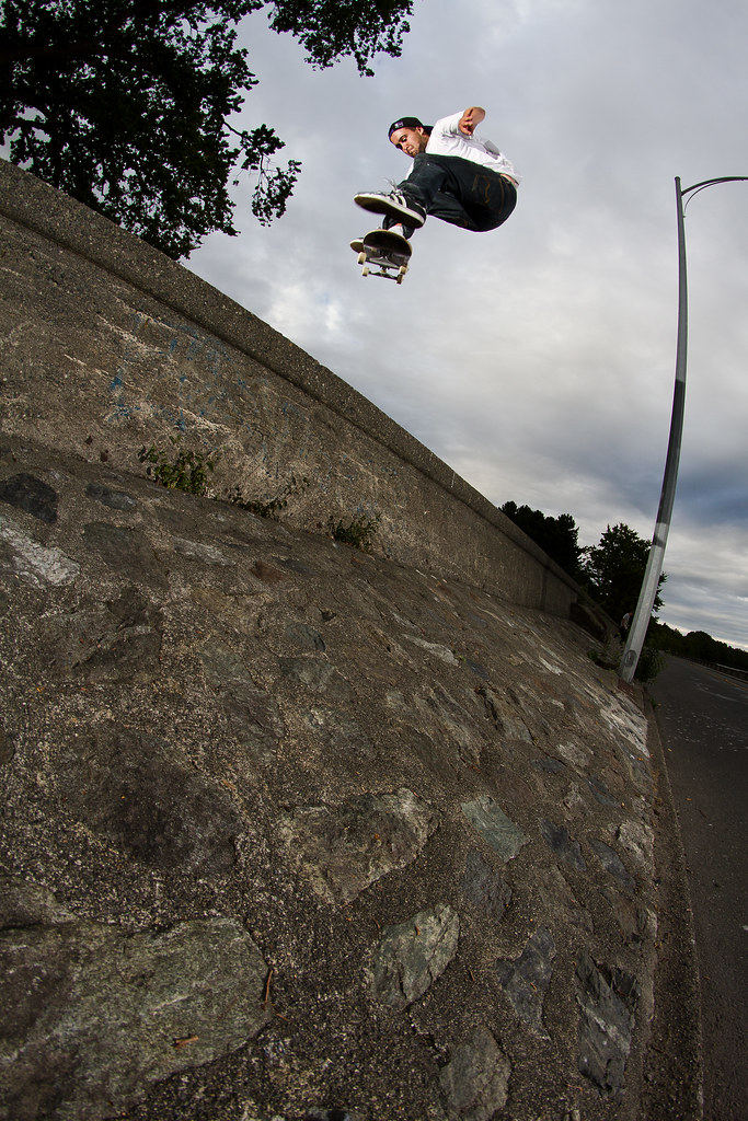 Corey Cawdell kickflip into bank
