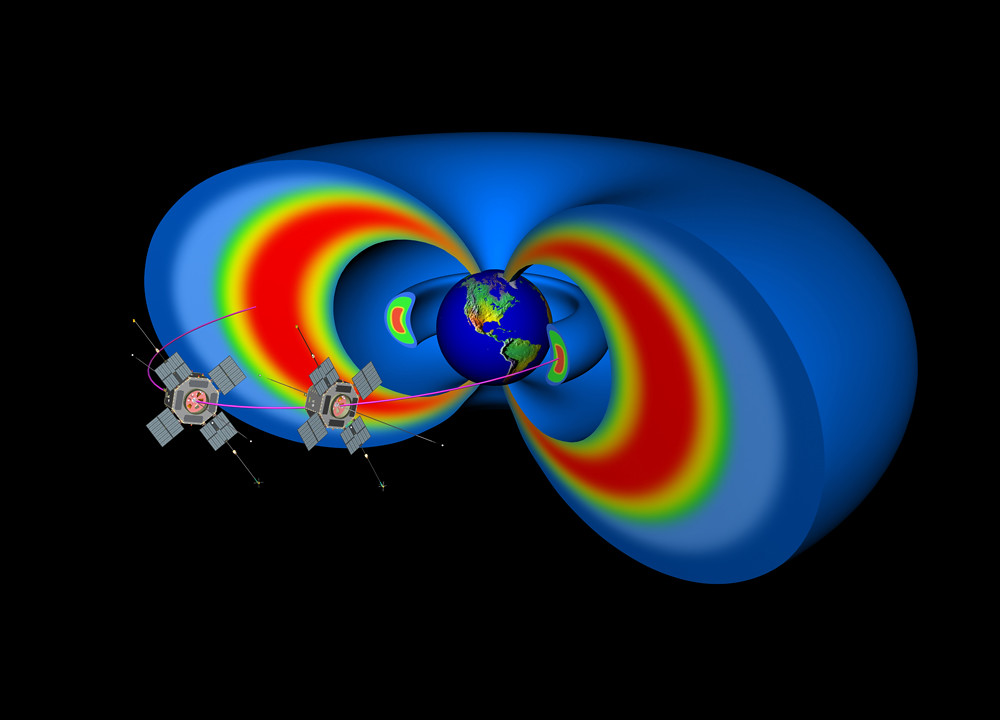Artist's rendering showing two spacecraft representing the not-yet-designed Radiation Belt Storm Probes that will study the sun and its effects on Earth. PHOTO CREDIT: Johns Hopkins University Applied Physics Laboratory