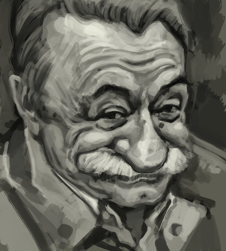 digital caricature of Mario Benedetti - 1