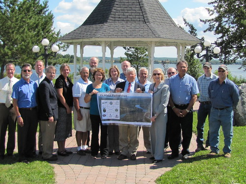 USDA Rural Development Maine State Director Virginia Manuel (fifth from right)  joined representatives of the towns of St. Agatha and Frenchville to celebrate the start of a project that will combine wastewater facilities into one efficient, state-of the art system.