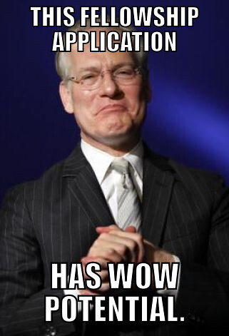Tim Gunn with text that reads, this fellowship application has wow potential