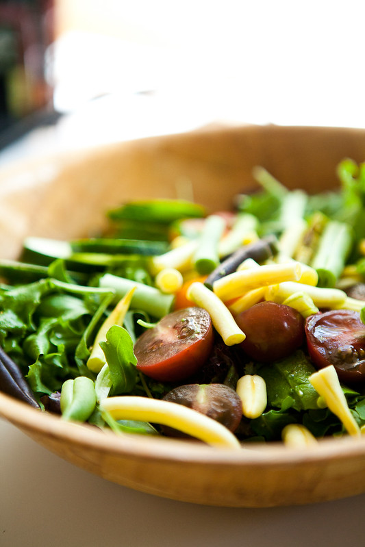 A simple salad made with farmers market produce in Montana