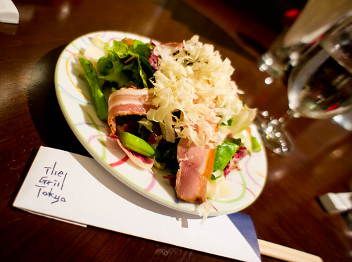 Japanese's Salad with smoked chicken, sausage and sea scallop