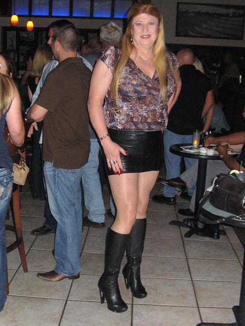 Leather Mini Skirt with Knee High Leather Boots