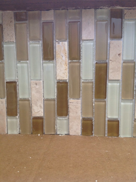 How to Tile A Glass Mosaic Backsplash Over Paneling ~ The ...