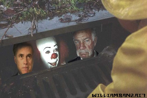 ROMNEY, JONES, SCARY CLOWN IN SEWER by Colonel Flick