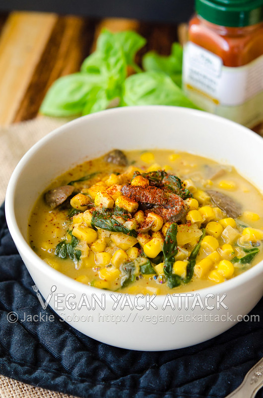 An easy-to-make and flavorful smoky corn chowder, perfect for cool nights. This recipe is dairy-free, for a lighter, delicious vegan version of a classic.