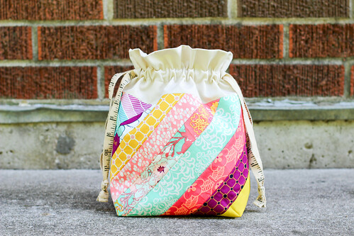 Diagonal Stripes Drawstring Bag by Jeni Baker