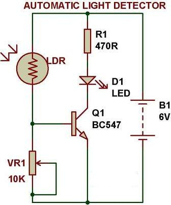 dark light sensor using transistor buildcircuit electronics Photocell Wiring Directions dark light sensor