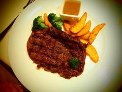 meal, steak, fried food, pork chop, rib eye steak, meat, salisbury steak, food, dish, meat chop, cuisine,