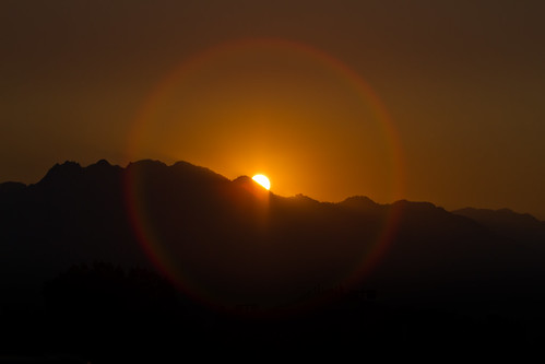 Sunrise Halo over Mountain Range