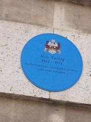 Photo of Alan Mathison Turing blue plaque