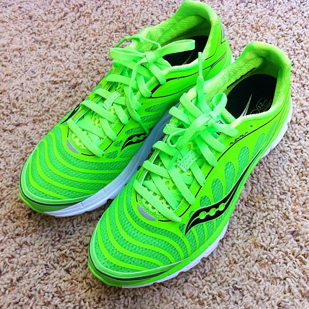 Love my new Limited Edition Slime Green @Saucony Kinvara 3's.  I'm somewhat of a running shoe addict now. #saucony #kinvara3 #running