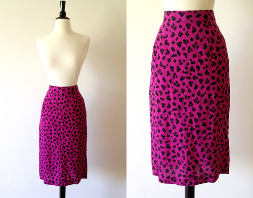 pink leopard print pencil skirt