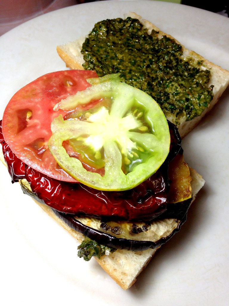 Roasted Vegetable-Pesto Sandwich