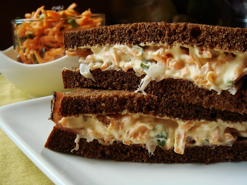 Carrot & Speck on Pumpernickel Rye