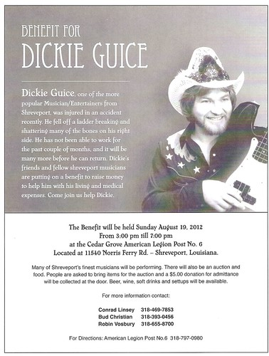 Dickie Guice benefit Sun, Aug 19, Cedar Grove Amer Legion by trudeau