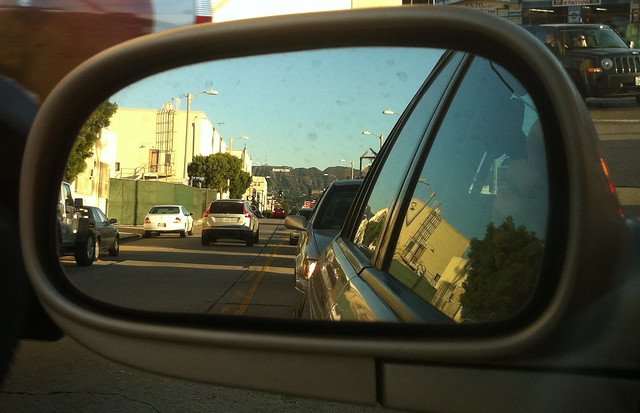 Hollywood sign in my car's side view mirror on the way back from Machinima