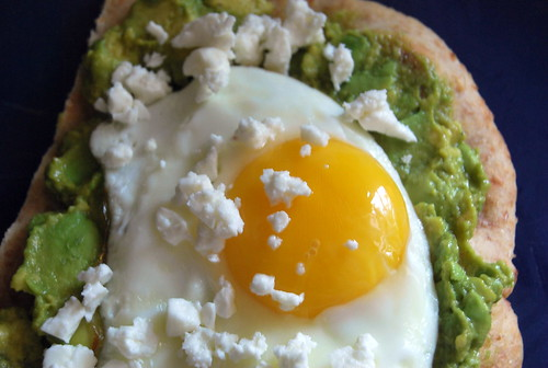 Smooshed Avocado and Egg Whole Wheat Breakfast Pizza