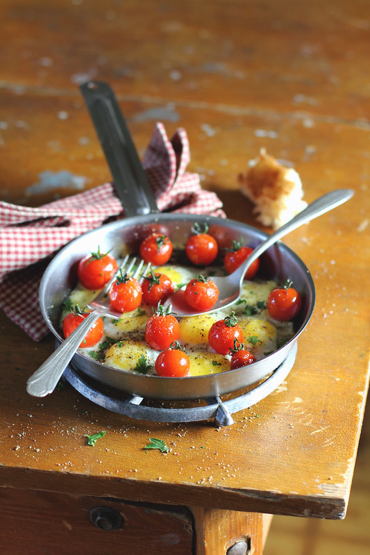 Fried Quail Eggs and Cherry Tomatoes for breakfast