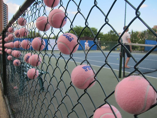 Pink Tennis Balls In The Fence | Flickr - Photo Sharing!