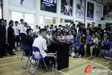 August 19th, 2012 - Jeremy Lin answers questions during the first day of his basketball camp in Dongguan