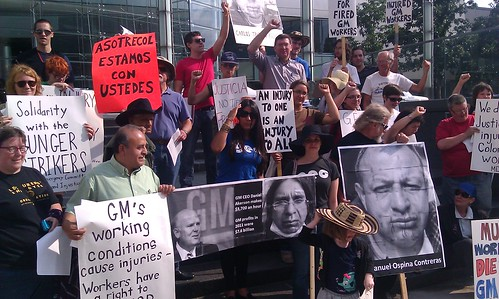 Detroit demonstration in solidarity with General Motors hunger strikers in Colombia. The demonstration took place on August 15, 2012 outside GM world headquarters in downtown Detroit. (Photo: Abayomi Azikiwe) by Pan-African News Wire File Photos