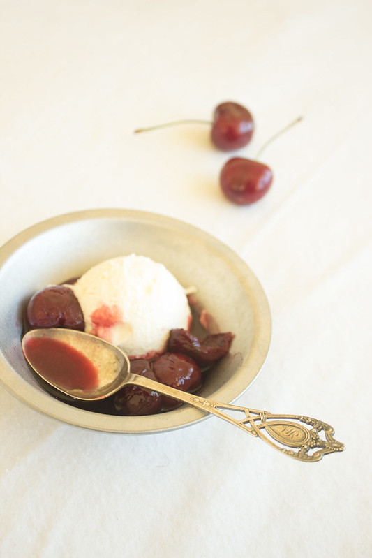 Mascarpone Ice Cream with Wine Poached Cherries