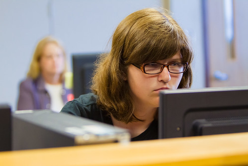 Teresa Kennelly focuses on taking test.