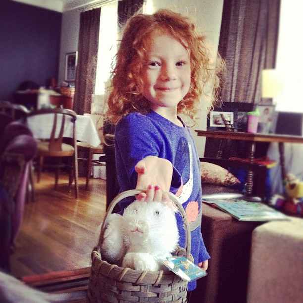 Why yes. She has been toting around a bunny in a basket saying happy Easter all day. I don't know...