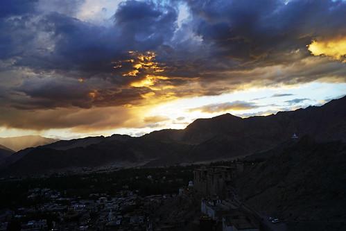 city light sun india mountains clouds palace tibet monastery leh himalayas ladakh