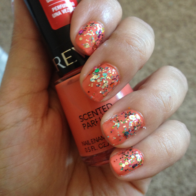 Coral Nails with Glitter