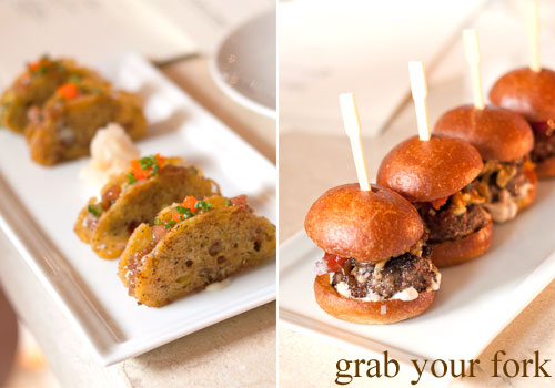 tuna tartare sandwiches and mini kobe sliders at cut by wolfgang puck, at marina bay sands singapore