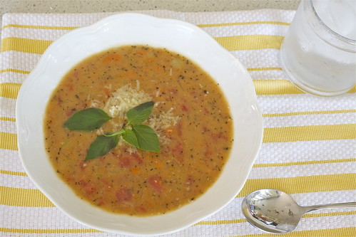 Tomato Basil Parmesan Soup - Lightened Up