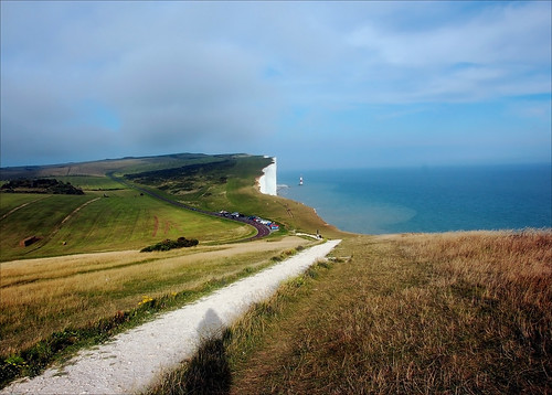 road sea england sky lighthouse seascape cars beauty clouds landscape nikon parking cliffs coastline pp eastbournedownlands tpslandscape