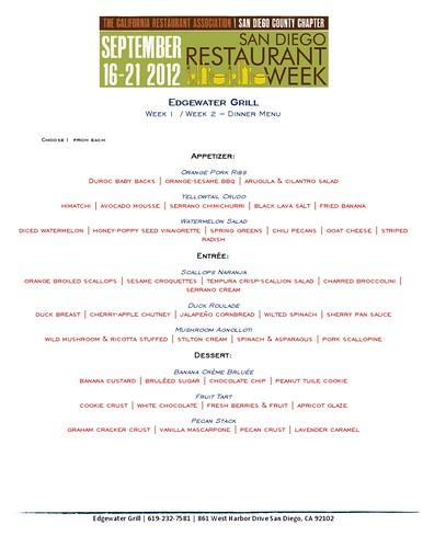 Edgewater Grill Restaurant Week menu