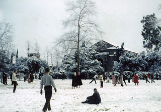 Students play in the snow on Marston Quad in 1949