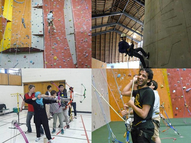 Archery, abseiling, and rock climbing montage