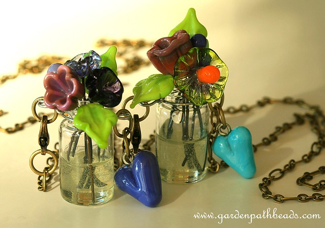 lampwork flower bouquets