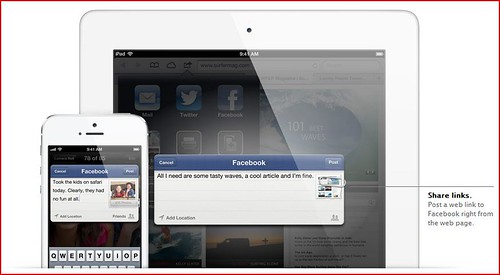 iOS6- Facebook. Integrated throughout iOS. You'll definitely Like it.