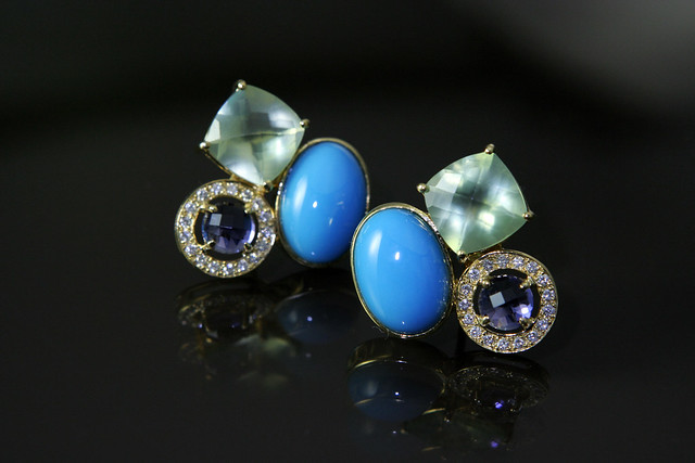 PSearrings of turquoise phrenite iolite diamonds in yellow gold