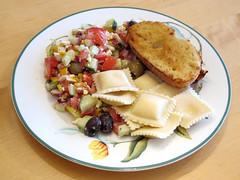 Ravioli and Greek salad